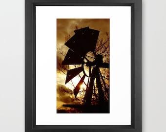 Windmill Photograph, Windmill Print, Farm Picture, Storm Clouds, Dorothy's Windmill, Sunset Print, Brown Sky, Wizard of Oz, Sepia Print, art