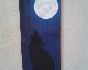 Wolf Howling at the Moon hand painted relief