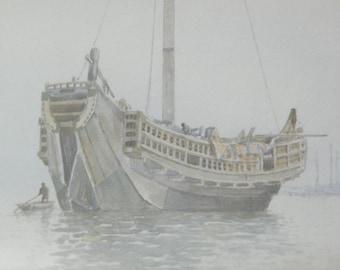 1911 Eika Kato Watercolor - Fishing boat - Japanese Watercolour - Arts and Crafts