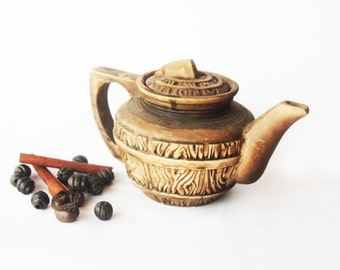 Unique ceramic teapot Redware teapot Hand made teapot Art pottery Kitchen dish Stoneware tea pot Rustic tea pot Brown teapot Wooden tea pot