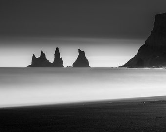 Landscape Fine Art Photo: Iceland, Vik, Long Exposure, Seascape, Cliff, Sea Stack,