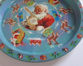 Vintage Daher Christmas Tray, Vintage Santa & Reindeer Daher Tray, Vintage Christmas Serving Tray