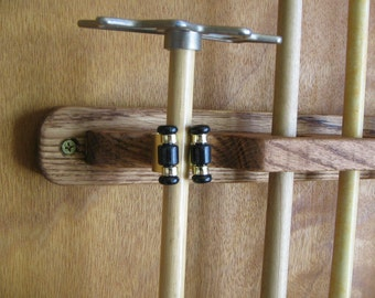 6 Pool Cue Wall Rack with Bridge Clip