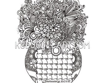 March Doodled Calendar Coloring Page
