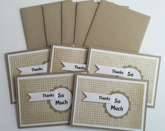 "Handmade BOX Set of 5 ""Thanks So Much"" Note Cards w/Envelopes"