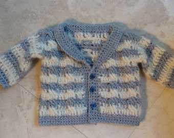 Cambridge Baby Braided Cable Cardigan Crochet Pattern for Boys and Girls (size 0-12 months)