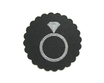 Diamond Ring Die Cut on 2 Inch Scalloped Circle Set of 25