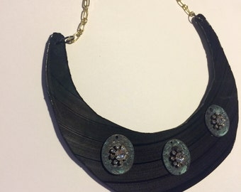 Vinyl Record Bib Necklace with Turquoise  Accents, Vinyl Record Jewelry, Vinyl Record Fashion Accessory