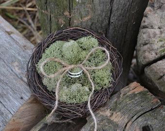 Rustic Moss Filled Ring Bearer Birds Nest Pillow Alternative Woodland with Jute