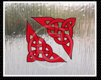 Celtic knot corners window clings, hand painted, glass & mirrors, reusable static cling decals, faux stained glass effect, decal, suncatcher