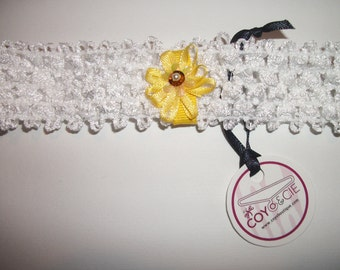 White headband with yellow ribbon