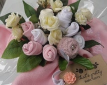 Personalised luxury baby clothes bouquet. PINK. A unique gift. A stunning alternative to fresh cut flowers for a new Mum. Baby girl gift.