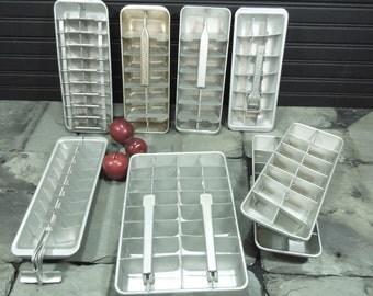 Ice cube trays aluminum vintage - retro kitchen gadget - Crosley Shelvador - retro kitchen - freezer tray unusual - mid century tray