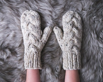 Chunky Knit Braid Cable Mitten Gloves