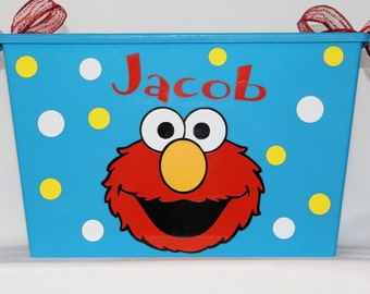 Elmo Easter Basket, Personalized storage bin, box, Storage Bin, Waste Basket, Toy Box Birthday gift made with Vinyl