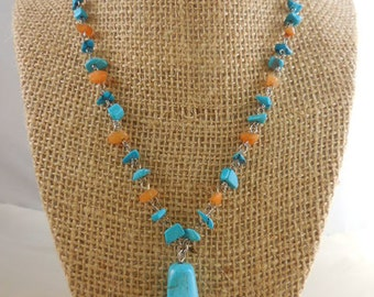 Turquoise Agate Nugget Beaded Necklace