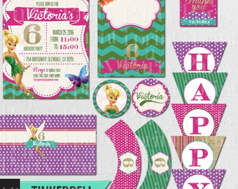 Tinker Bell Personalized Birthday Party Set - Tinker Bell Birthday Theme Printable Party Package - Tinker Bell - DIGITAL DESIGN