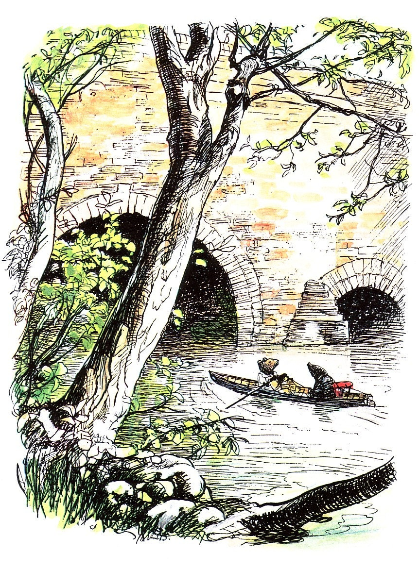 Wind in the willows ornaments - 1985 Wind In The Willows Print Rat And Mole Rowing On The River By E H Shepard