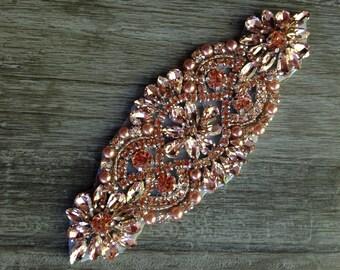Rhinestone-Pearl-Applique-Wedding-Bridal-Party-Clear-Embellishment-DIY-DIY Wedding-Flower Girl-Wedding Garter-Bridal Garter-Bridal Belt-Sash