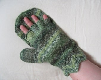 Knit Wool Mittens Gloves Green Leaf Glittens (fingerless gloves with mitt)