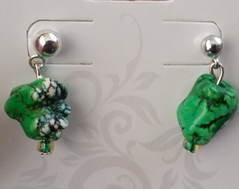 Green Nugget Earrings