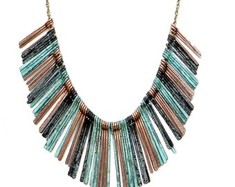 Tribal Fringe Necklace Mixed Metals