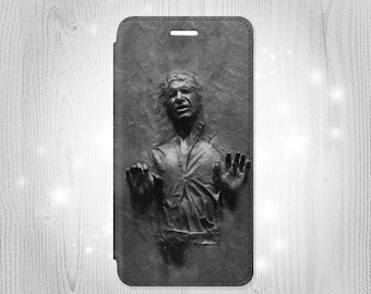 Han Solo Frozen in Carbonite Leather Flip Case For iPhone 7 7 Plus 6S 6 6+ SE 5 Samsung Galaxy S7 Edge S6 Edge Plus S5 Note 5 4