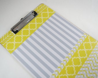 Yellow and Gray Clipboard, Cute Desk Accessories, Coordinated Office Supplies, Storage and Organization, Pretty Clipboard, Decoupage