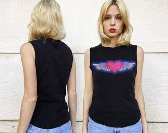 Vintage 90s Black Hot Pink + Multicolor Winged Heart Love Chunky Grunge Summer Tank Top S