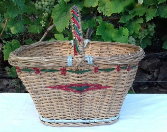 Antique Large Hand Woven, Hand Painted Basket