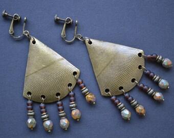 Tribal boho hippie earrings, triangle dangle  earrings, clip on earrings, non pierced earrings, clip screw back