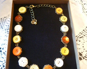 Orange, Yellow and White Vintage Button Necklace