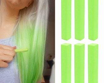 6 Best Temporary Pastel Green hair Dye for dark and light hair - Set of 6 | DIY Pastel Green hair Chalk for easy and simple hair coloring