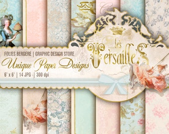 Royal Digital Paper Pack Marie Antoinette Shabby Paper Roses Printable Backgrounds Versailes French Rococo Papers Damask Chandelier Deer Had