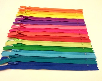 YKK Nylon Zippers 14 Inches Coil #3 Closed Bottom Assorted Colors