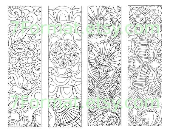 Bookmarks Coloring Printable, scaleable PDF file super quality, Instant Download. 30v.