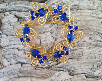 Juliana? Sapphire Blue Rhinestone With Gold Wire Accent Brooch
