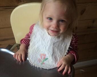 Upcycled [VINTAGE] Embroidered Tulip Baby Bib {RDA}