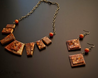 complete necklace and earrings in polymer clay with murrina klimt style