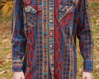 Men's  Long Sleeve Printed Button Down