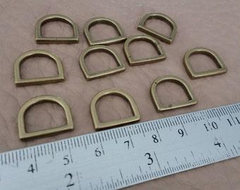 10 Pcs, 1.2 cm. (inner) Metal D Ring, Antique Brass, U Shape, Handbag Hardware,