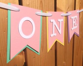 custom ONE high chair banner, first birthday, birthday banner, one banner, 1st birthday, 1st birthday banner, highchair banner,cake smash