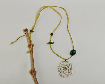 Olive cord pendant necklace, large coil pendant, silver spiral pendant, big twisted pendant, green cord necklace, tagua jewelry.