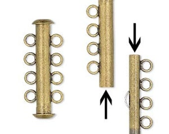 Slide Clasp, 4 Strand Clasp, Antiqued Brass, 26x6mm, 1 each, D803