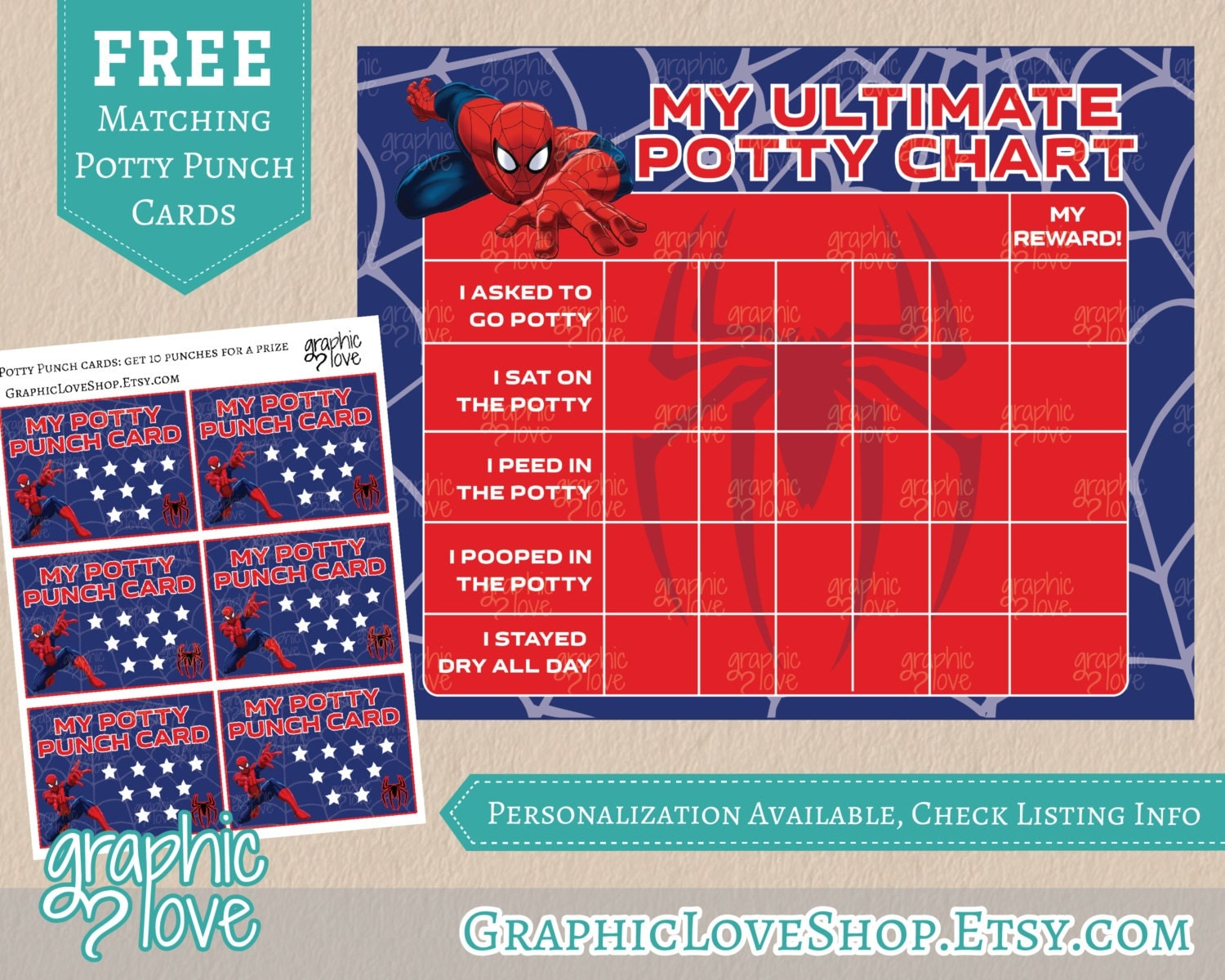 ultimate spiderman potty training chart punch cards 128270zoom