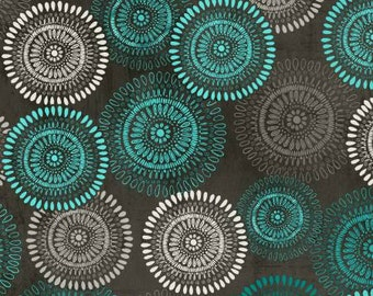 Isabella Fabric Collection - Dark Gray Large Medallions Fabric by Cynthia Coulter for Wilmington Prints - Sold by the Half Yard