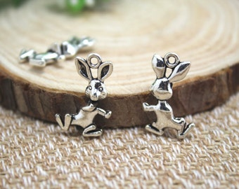 20pcs-- Rabbit charms, Antique Silver Vintage 3D Rabbits Bunny Charms Pendants 19x12mm D1344