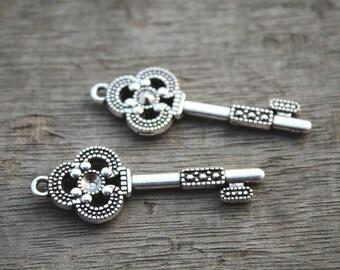 10pcs--Key Charms, Antique Tibetan Silver Skeleton keys Pendants/Charms, DIY Supplies 15x43mmD0384