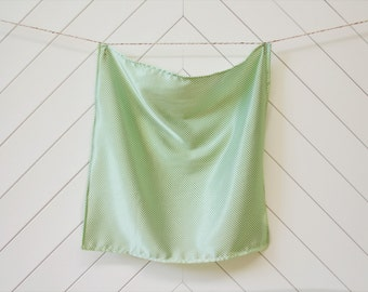 Silky White with Mini Green Polka Dots (Small)