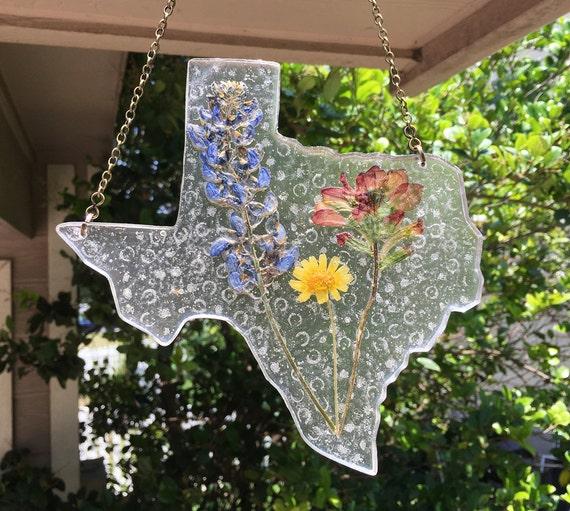 Handmade Texas Suncatcher With Texas Bluebonnet By